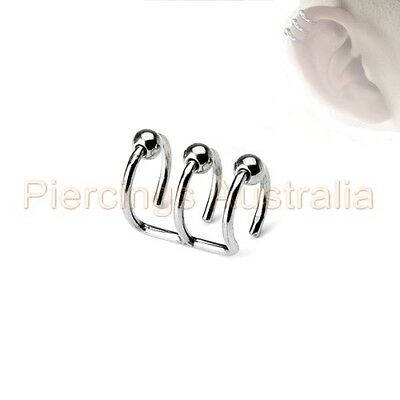 Non Piercing Clip On Closure Bead Cartilage Ear Ring CHOOSE SINGLE OR PAIR
