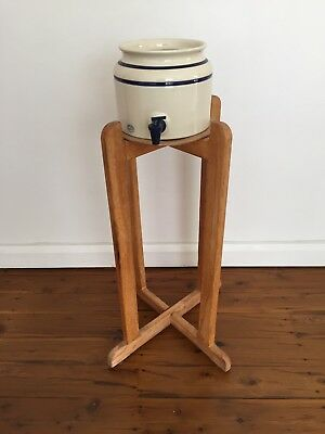 Bendigo Pottery Stoneware Water Cooler And Wooden Stand