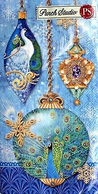 Pk16 GORGEOU 16 Punch Studio PEACOCK ORNAMENTS CHRISTMAS Paper Hostess Napkins