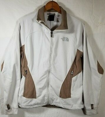 THE NORTH FACE Women s Polyester Fleece Jacket Medium White Brown Stains   A696 c54c05183