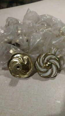 lot of 14 vintage NOS #267 white and brass drawer cabinet knobs