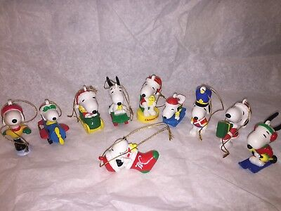 Vintage Christmas Snoopy Figurines / Ornaments set of 10, new