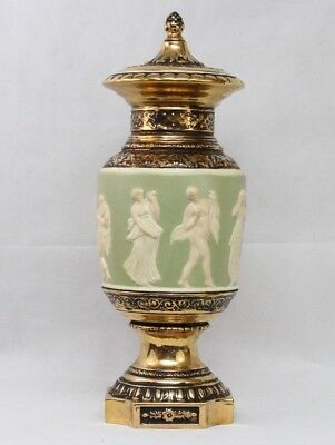 Vintage Signed Hellenic Gold Porcelain Neoclassical Roman Greek Style Relief Urn