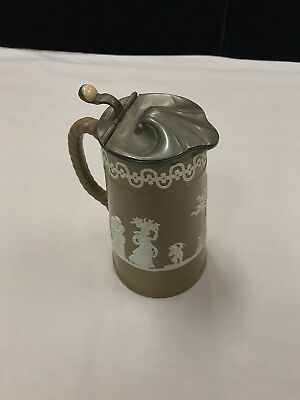 Antique B Greyson & Sons Sheffield Neoclassical Ceramic Jug With Pewter Lid