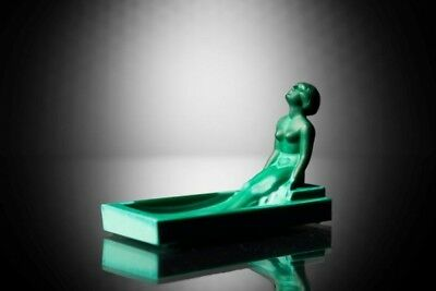 ART Deco Czech Bohemian Glass Nude Woman in Bath Jade Ashtray H. Hoffmann Bowl