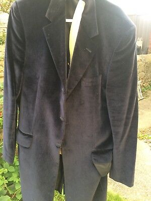 Navy Long Libe Velvet Jacket And Gold Waistcoat For Upcycling Project Steampunk