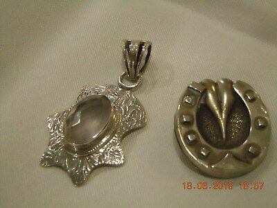 Antique Silver Lucky horse shoe brooch on Brass & Silver 925 pendant lovely .