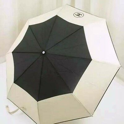 CHANEL Umbrella VIP Full Set Quilted Cover Chain Detail Cream Black Brand New