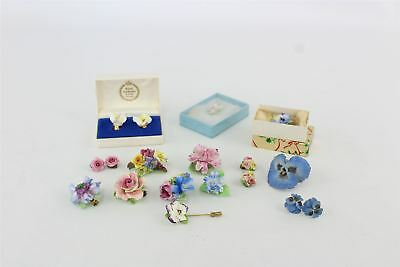Lot of 15 x Vintage Hand-Painted Bone China Floral Jewellery inc Pins etc 188g