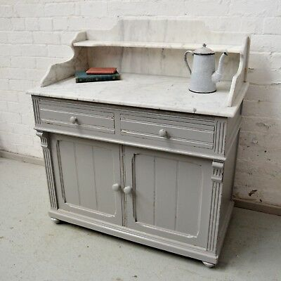 Antique Style Shabby Chic French Country Pine Marble Washstand / Bedroom Table