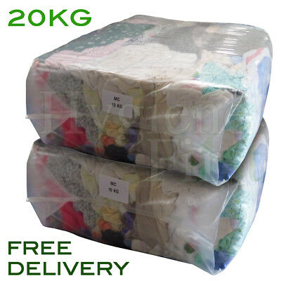 20Kg Mixed Coloured Cotton Rags Wipers Polishing Cloths Engineering Garage