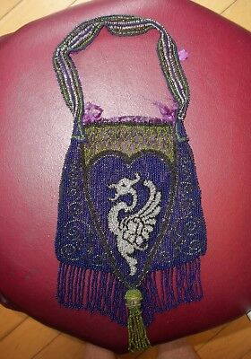 Vintage Victorian Micro Glass Beaded Purse Dragon With  Fringe