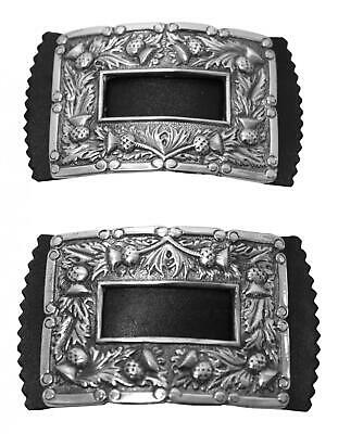 Stunning Solid Pewter Thistle Design Brogue Shoe Buckles
