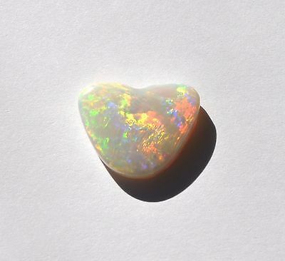 Natural Solid Australian White Light Loose Opal 9.51Ct  Heart Red Orange Yellow