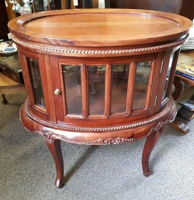 Antique Style Golden Mahogany Elegant Oval Drinks Cabinet with Top Tray