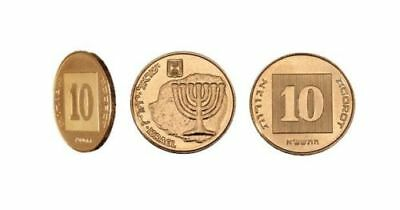 Israel Ten 10 Agorot New Shekel Sheqel Coin Agora Gold Menorah Judaica