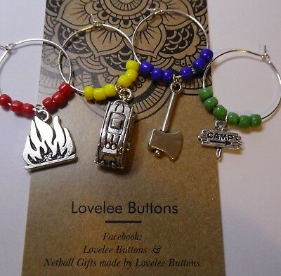 Camping Caravan Wine Charm Rings set with Glass Beads