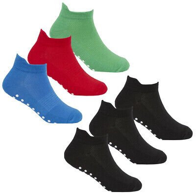 Boys Colourful Bright Socks 6-12 Pairs Non Slip Sole Grip Sport Trainer Liners