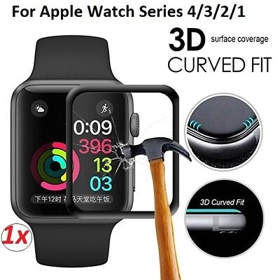 3D Curved Apple Watch Series 4/3/2/1 Tempered Glass FULL COVER Screen Protector