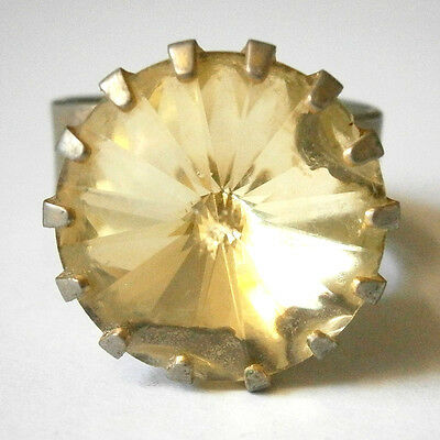 vintage costume jewellery giant citrine yellow glass gemstone bling ring #4020