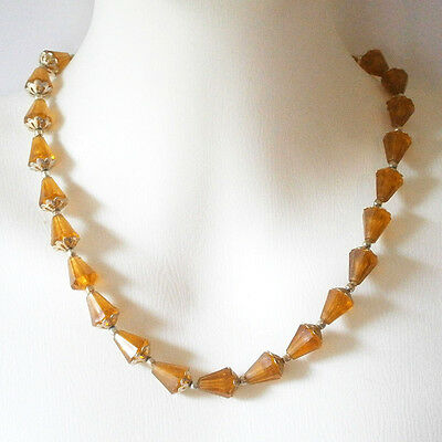 vintage costume jewellery single string amber look resin bead necklace #1046