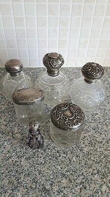 silver and glass scent bottles
