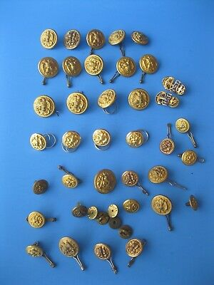 Vintage WW2 USN Waterbury Meyer Vanguard Buttons LOT Navy Eagle Anchor Gold Tone