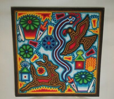 HUICHOL FOLKART TRADITIONAL Vintage NATIVE HANDCRAFT MEXICAN WOOL YARN PAINTING