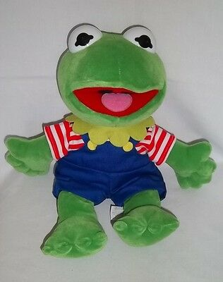 """MUPPETS BABIES 14"""" Plush KERMIT THE FROG Blue Overalls Lg Stuffed Animal Vtg Toy"""