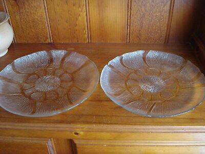 2 Large  Glass Serving Plates ~ Flower  Design ~ Cakes , Sandwiches