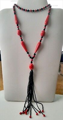 Antique Art Deco Bright Red And Black Glass Flapper's Necklace