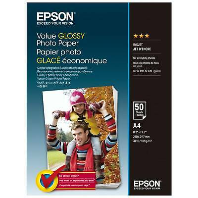 Original Epson Value A4 Glossy Photo Paper 183gsm - 50 Sheets (C13S400036)