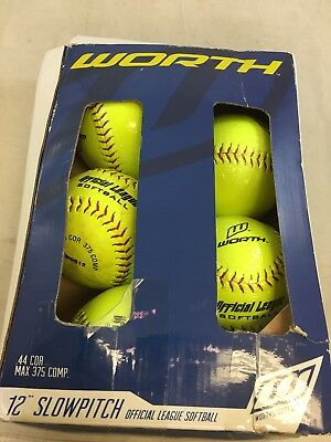 """NWD Pack of 6 WORTH 12"""" Official League Slow Pitch Yellow Softball (KF)"""