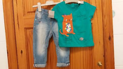 Bnwt baby girls NEXT top hat and jeans outfit Set 12-18 months B2