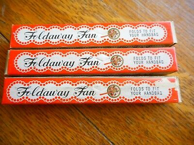"""3 Vintage Foldaway Fan 50s """"Keep Cool And Be Gay"""" Original Boxes Elephant Brand"""