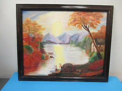 Framed Allentown PA Artist Peggy Yost River Scene Painting Oil On Canvas