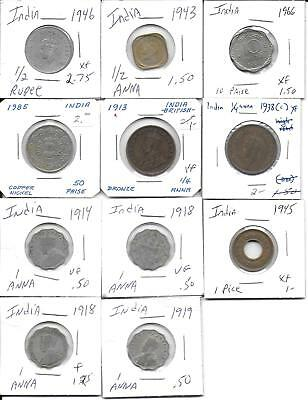 India vintage lot of 11 eleven coins all in 2x2 holders