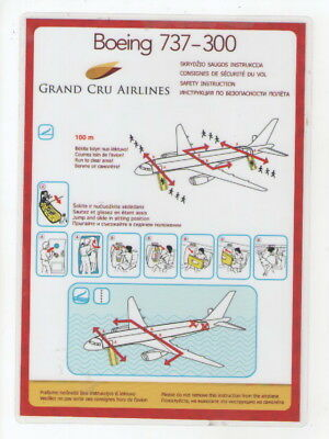 GRAND  CRU   AIRLINES        Boeing  737-300     Safety Card