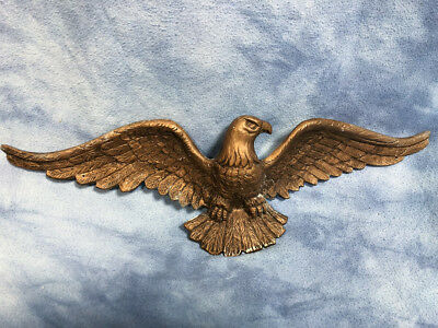 "Vintage 20"" Cast Metal Eagle Wall Hanging, Mid Century Garage Rustic Bald Eagle"