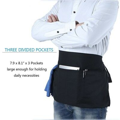 Waist Apron with 3 Pockets Black Waitress Waiter Server half short apron Kitchen