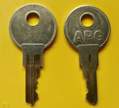 Pair of A6 Keys for Micros Cash Drawer Fits Series JD030, AB030, T030 & HP T400