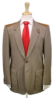* GUCCI * Vintage 1970's Brown Twill Leather Trim 2-Pc Wool Shooting Suit 40R
