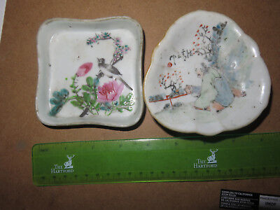 2 small hand painted antique Asian plates