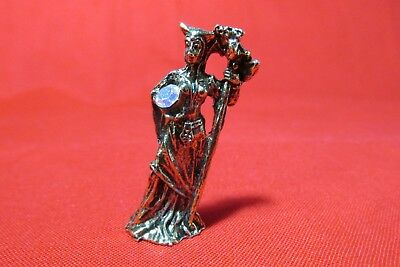 Pewter Brass Finish  Mage Witch Figurine With Crystal