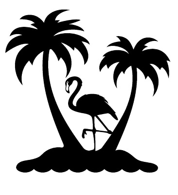 Flamingo Beach Palm Trees Vinyl Decal Sticker Tropical Wall Cup Car Decor Choice