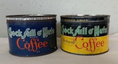 Lot of 2 Vintage Chock Full O' Nuts 1 Pound Coffee Cans - The Heavenly Coffee