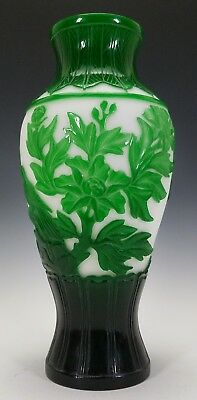 LARGE 19th C. ANTIQUE CHINESE PEKING GLASS VASE JADE GREEN ON WHITE CARVED CAMEO