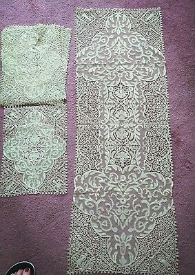 Antique Needle Bobbin Lace Buffet Scarf Doilie W Matching Placemats
