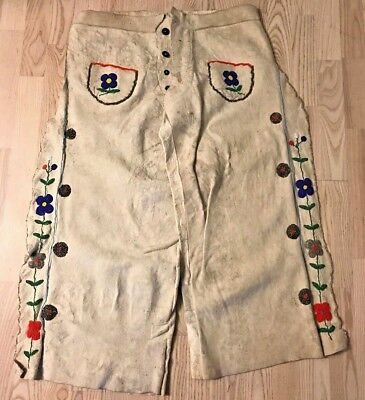 Native American Indian Crow Beaded Hide Leather Horse Riding Pants