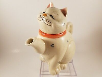 Norcrest Vintage White Cat Teapot - Crafted in Japan